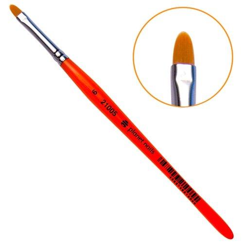 Фото - Planet nails Кисть гелевая овальная из синтетического волоса № 6 оранжевый planet nails кисть гелевая овальная из синтетического волоса 6 оранжевый