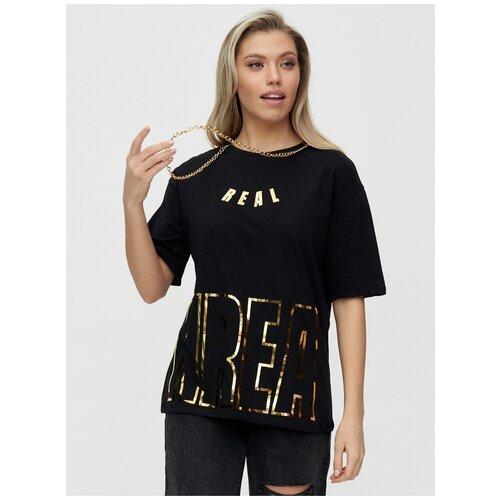 Женские футболки с надписями Черный, 44