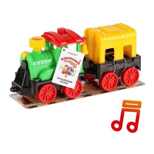Развивающая игрушка Биплант Музыкальный паровоз с вагоном разноцветный