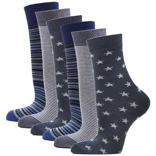 Носки женские повседневные с рисунком HOSIERY 75217 р 23-25 (36-39 размер ноги) т.серый 6 пар