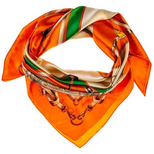 Шелковый платок на шею/Платок шелковый на голову/женский/Шейный шелковый платок/стильный/модный /21kdgPL903024-2vr оранжевый, зеленый/Vittorio Richi/80% шелк,20% полиэстер/90x90