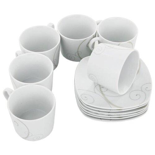 Фото - Чайный сервиз Domenik Caress Modern DM9113, 6 персон, 12 предм., белый столовый сервиз domenik meadow dm9373 6 персон 19 предм белый цветы