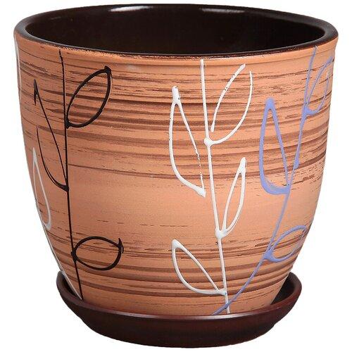Горшок Художественная керамика Ленок с подставкой коричневый