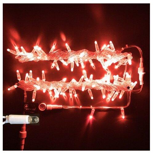 Гирлянда Rich LED Нить RL-S10C-220V-CT, 1000 см, 100 ламп, красные диоды/прозрачный провод