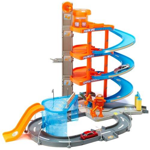 Bburago Паркинг 4-х уровневый Mega Dealer Showroom Центр Продаж АВТО с 2 машинами 18-30031, оранжевый/голубой/серый