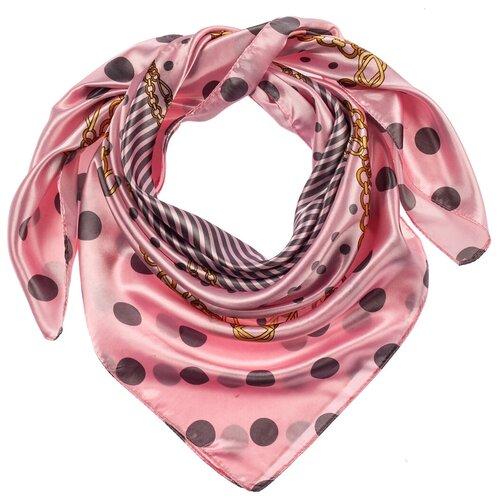 Шелковый платок на шею/Платок шелковый на голову/женский/Шейный шелковый платок/стильный/модный /21kdg759090-1vr розовый,серый/Vittorio Richi/100% шелк/90x90