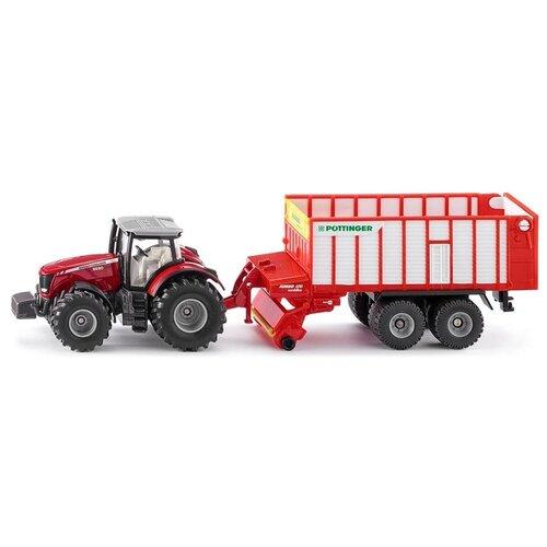 трактор siku с прицепом кузовом 1858 1 87 22 6 см желтый Трактор Siku Massey Ferguson с кузовом Poettinger Jumbo (1987) 1:50, красный/белый