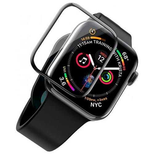Полноэкранное защитное стекло для Apple Watch 4D Full Glue Full Screen 5 series (44mm) / Защитное стекло для Эпл Вотч 5 серии (44мм) / 3D Полная проклейка экрана (Черный)
