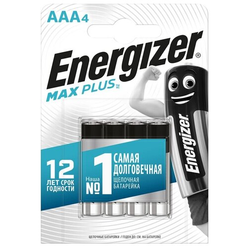 Фото - Батарейка Energizer Max Plus AAA, 4 шт., 3 уп. батарейка energizer max plus aa 4 шт