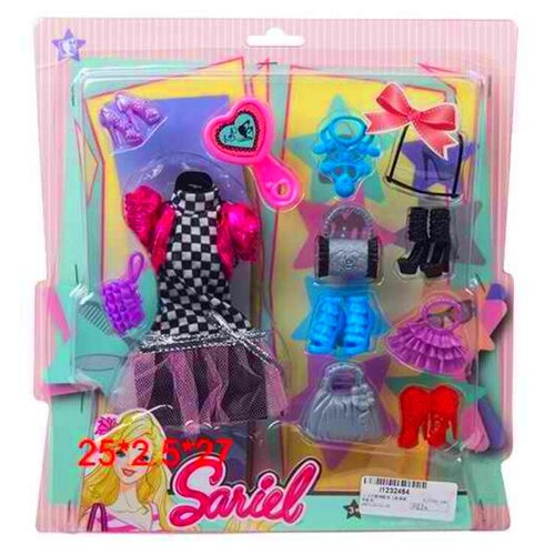 Купить Набор аксессуаров для кукол на листе 3315-B Sariel, платье, обувь, сумочки, очки, ожерелье, расческа, 28х25х2.5 см, Shantou City Daxiang Plastic Toys, Одежда для кукол