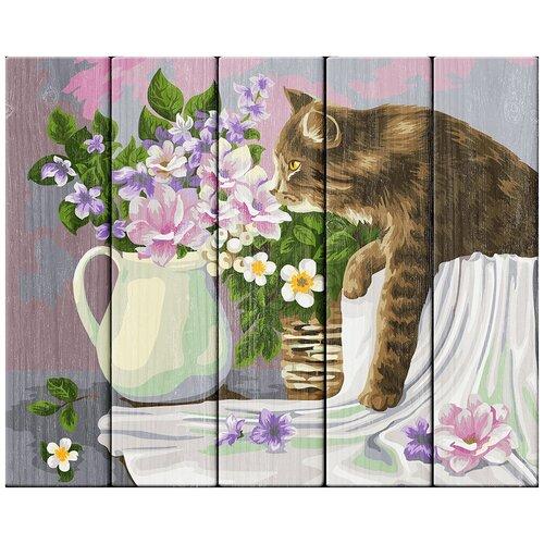Купить Набор для раскрашивания по номерам (по дереву) Кошка в лукошке. Жанна Когай , 40х50см, ФРЕЯ, PKW-1 68, Картины по номерам и контурам
