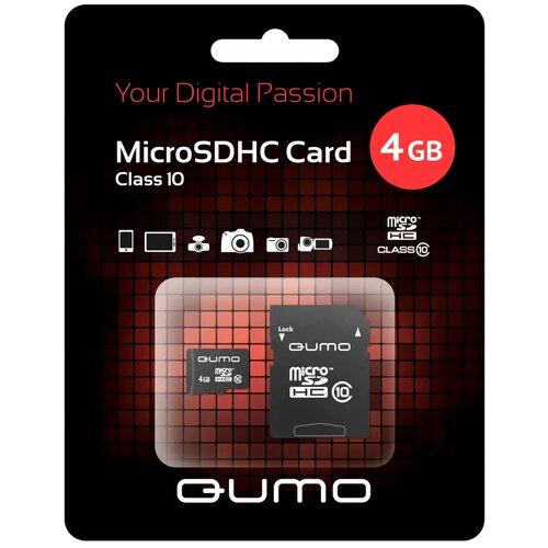Карта памяти Qumo microSDHC class 10 + SD adapter 4 GB, адаптер на SD