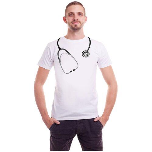 Футболка медицинская Стетоскоп белая мужская, 48/50 футболка мужская odlo ceramicool размер 48 50