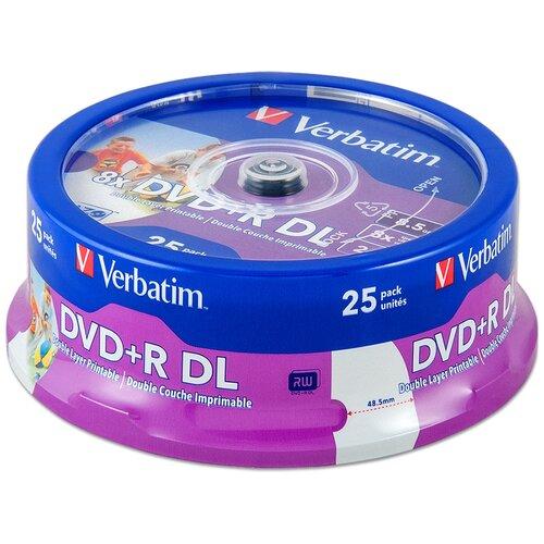 Диск DVD+R DL 8.5Gb Verbatim 8x Double Layer Printable cake, упаковка 25 штук (43667)
