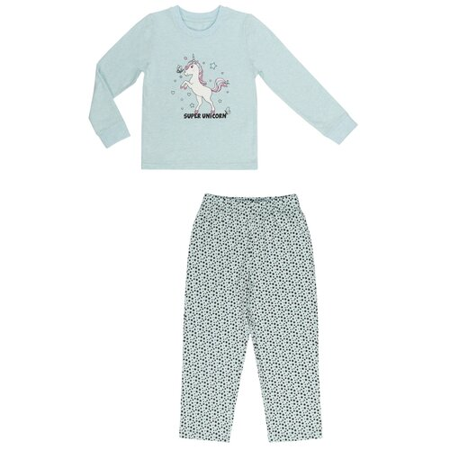 Купить OCAW20UW2KC11 Пижама д/дев., футболка с длинным рукавом и брюки Мика 4-5 л размер 110-60-57 цвет бирюзовый, Oldos, Домашняя одежда