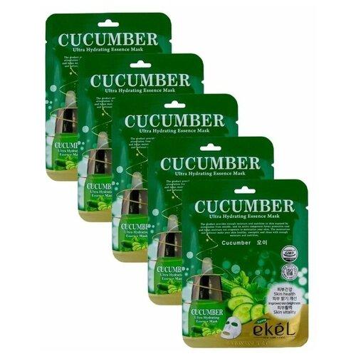 ekel super natural ampoule mask cucumber тканевая маска с экстрактом огурца 25 г 5 шт Ekel Увлажняющая маска с экстрактом огурца 5 шт. Ultra Hydrating Essence Mask Cucumber