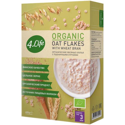 4Life Хлопья овсяные органические с пшеничными отрубями, 400 г без брэнда хлопья органические new овсяные 4life