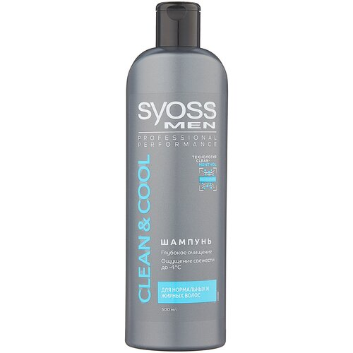 Купить Syoss шампунь Men Clean&Cool Глубокое очищение для нормальных и жирных волос, 500 мл
