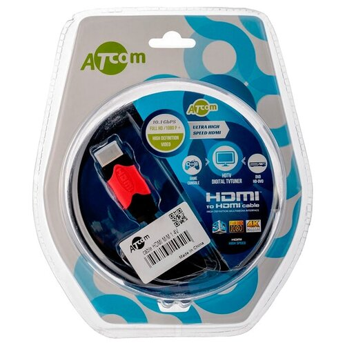 Кабель Atcom HDMI - HDMI Cable, черный/красный, 1 м кабель atcom hdmi hdmi cable черный красный 3 м