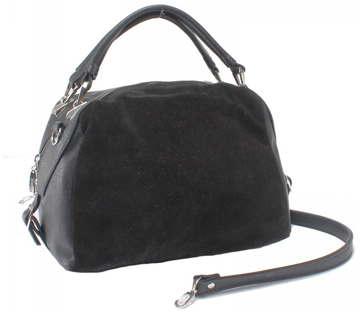 Купить Женская сумка-тоут экокожа(искусственная кожа)+натуральная замша Gera 522720 по низкой цене с доставкой из Яндекс.Маркета