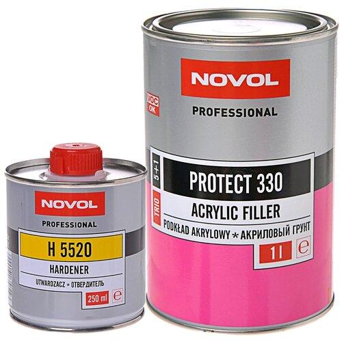 Комплект (грунт-наполнитель, грунт-праймер) NOVOL PROTECT 330 серый 1 л