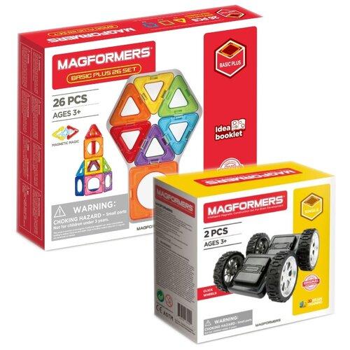 Купить Конструктор Magformers Basic Plus 715014-26 + Click Wheels 713009, Конструкторы