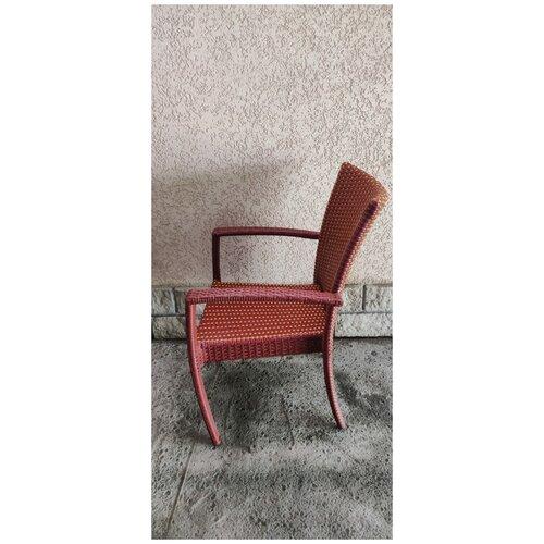 Кресло Лаос, плетеное из искусственного ротанга, 2-х цветный (красное дерево/ива)