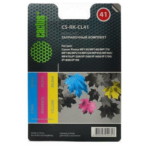 Фото - Заправочный набор Cactus CS-RK-CL41 многоцветный 3x30мл для Canon MP150/MP160/MP170/MP180/MP210 чернила cactus cs cl41m для canon pixma mp150 mp160 mp170 mp180 mp210 mp220 100 мл пурпурный