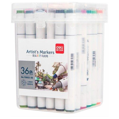 Купить Набор маркеров для скетчинга Deli 70802-36 двойной пиш. наконечник 36цв. пластиковая коробка, Фломастеры и маркеры