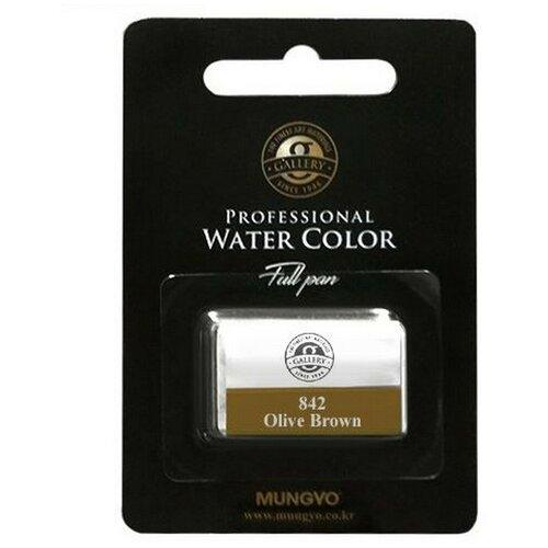 Акварельная краска Mungyo Gallery большие кюветы, в блистере цвет оливково-коричневый MGMWPF842