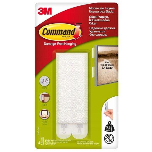 Клейкие застежки Command для узких багетов, белые, 4 пары