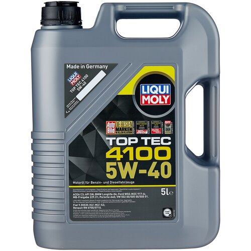 Полусинтетическое моторное масло LIQUI MOLY Top Tec 4100 5W-40 5 л моторное масло liqui moly top tec 4100 5w 40 sn cf a3 b4 c3 5 л нс синтетическое 7501