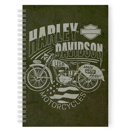 Купить Тетрадь 48 листов в клетку с рисунком Harley Davidson Made with pride, Drabs, Тетради