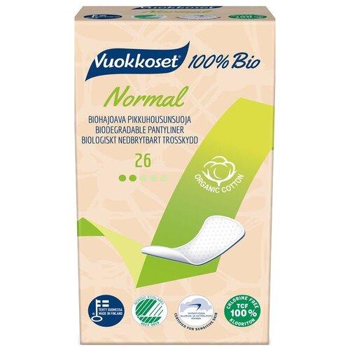 Купить Vuokkoset прокладки ежедневные Anatomic Normal 100% Bio, 2 капли, 26 шт.
