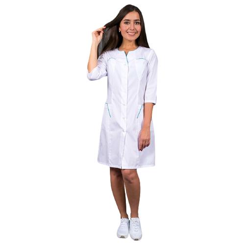Халат женский №242 (тк.ТиСи) DoctorBIG, белый/бирюзовый (0/39) (50; 170-176)