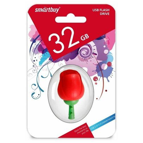 Фото - Флешка SmartBuy Wild Series Rose 32 GB, красный/зеленый флешка smartbuy ny series snow 16 gb красный белый