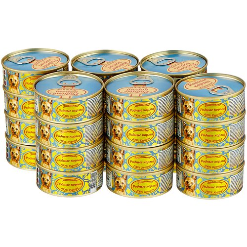Влажный корм для собак Родные корма беззерновой, курица 24 шт. х 100 г