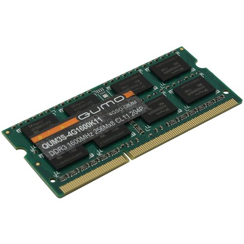 Фото - Оперативная память Qumo 4GB DDR3 1600MHz SODIMM 204-pin CL11 QUM3S-4G1600K11R модуль памяти qumo 4gb ddr3 1600mhz sodimm 204pin cl11 qum3s 4g1600c11