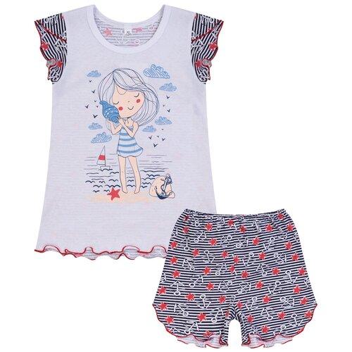 Купить Пижама для девочки 822п, Утенок, размер 64(рост 128 см) белый_море, Домашняя одежда