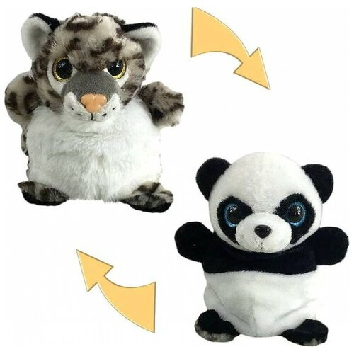 Мягкая игрушка Junfa toys Перевертыши Панда-Леопард 16 см