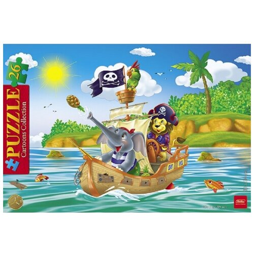 Рамка-вкладыш Hatber Cartoons Collection Забавные пираты (26ПЗ4_12192), 26 дет., Пазлы  - купить со скидкой