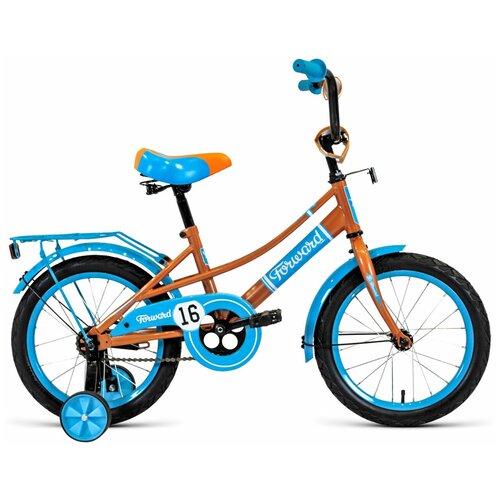 Детский велосипед FORWARD Azure 16 (2020) бежевый/голубой (требует финальной сборки) детский велосипед forward nitro 18 2020 оранжевый белый требует финальной сборки