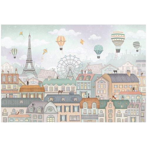Фотообои флизелиновые Топ Фотообои Воздушные шары в небе Парижа 400х270 (ШхВ) светло-бирюзовый/сиреневый/светло-коричневый/серо-голубой/светло-серый