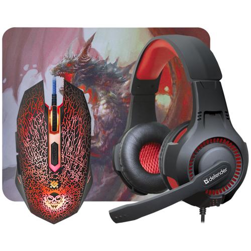 Компьютерная гарнитура Defender DragonBorn MHP-003 черный/красный компьютерная гарнитура defender aspis pro черный красный