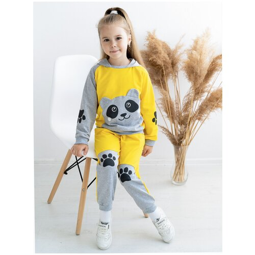 Костюм детский 746, Утенок, размер 60(рост 110 см) желтый_меланж_панда (толстовка с капюшоном и брюки)