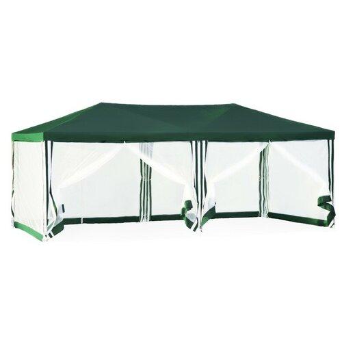 Шатер Green Glade 1056, со стенками и москитной сеткой, 6 х 3 х 2.5 м зеленый / белый шатер green glade 3018 со стенками 8 х 5 х 3 1 м белый