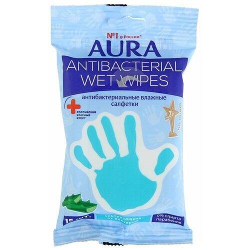 Фото - Влажные салфетки Aura антибактериальные, с алоэ, 15 шт. салфетки влажные aura антибактериальные 20 шт