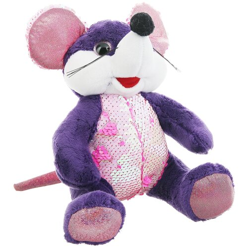 Мягкая игрушка ABtoys Мышка с пайетками фиолетовая 20 см