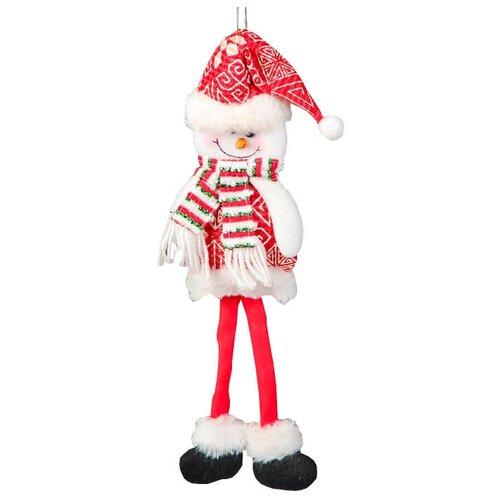 Мягкая игрушка Зимнее волшебство Снеговик с узорами 35 см