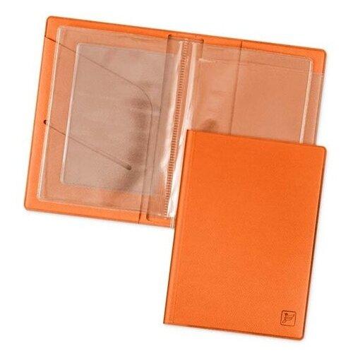 Обложка для автодокументов, водительских прав, удостоверения, СТС, ОСАГО / Автодокументница Flexpocket оранжевая